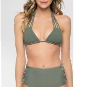 Tori Praver Seafoam high rise bathing suit